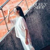 Queen Shop【01120168】簡約素色後開衩造型前短後長上衣*預購*