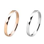 316L醫療鋼 稜格紋菱形 戒指指節戒尾戒-銀、玫瑰金 防抗過敏 不退色