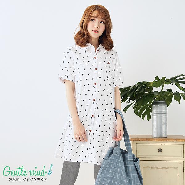 日系數字印花長版襯衫(白色)M-XL【Gentle wind 輕輕.吹】