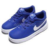 Nike 休閒鞋 Force 1 18 TD 藍 白 Air Force 免綁鞋帶 童鞋 小童鞋【PUMP306】 905220-400