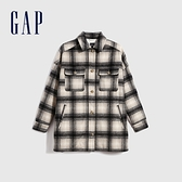 Gap女裝 時尚格紋翻領開襟呢絨大衣 623194-灰色格子