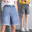 五分牛仔褲 鬆緊腰牛仔短褲女彈力高腰闊腿5分寬鬆顯瘦夏季薄款五分褲大碼潮 韓菲兒