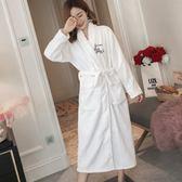 睡袍女冬珊瑚絨加厚加長款性感白色浴袍女秋冬法蘭絨睡衣刺繡韓版