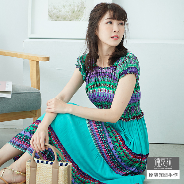 【潘克拉】公主袖印花度假洋裝-F TM786 FREE湖水藍