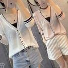 歐洲站夏季新品寬鬆薄款七分袖針織防曬衫女冰絲V領透氣開衫外套 莎瓦迪卡