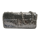 CHANEL 香奈兒 銀色亮片銀釦雙蓋肩背包 Sequins Classic Flap Bag 【BRAND OFF】