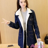 牛仔外套2020秋冬季韓版女裝加厚中長款顯瘦羊羔毛棉衣棉服牛仔外套女 JUST M