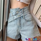 牛仔短褲 網紅高腰牛仔短褲女2021夏新款大碼顯瘦百搭設計感A字闊腿熱褲 寶貝計畫 618狂歡