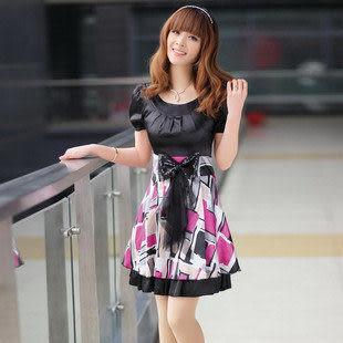 春夏裝新款女裝熱賣 時尚 修身花色高貴氣質短袖連衣裙 女