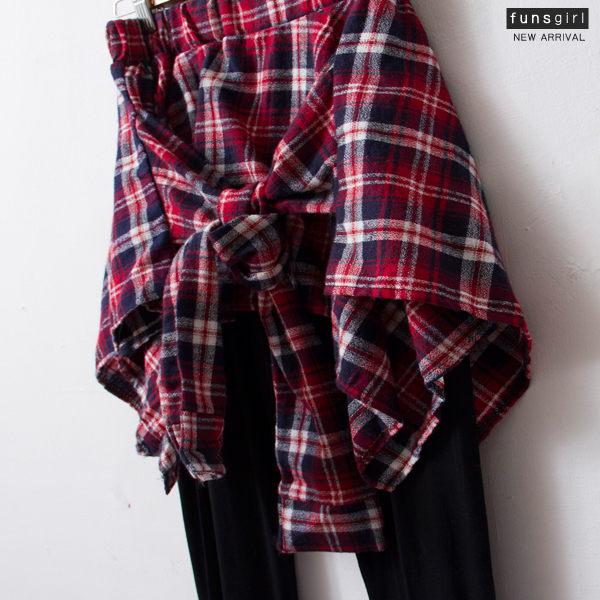 蘇格蘭-假兩件綁帶鬆緊後拉鍊內搭褲-4色~funsgirl芳子時尚