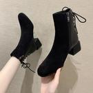 中筒靴 英倫風粗跟馬丁靴秋季新款短靴春秋靴子小跟瘦瘦單靴百搭女鞋 生活主義