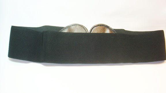 女腰帶   寬版伸縮 雙心環扣 ( 黑 )