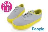 People THE STANLEY 男童休閒鞋 中童 鬆緊帶 軟底舒適 透氣 輕量運動鞋J9463#灰黃◆OSOME奧森鞋業