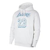 Nike 長袖T恤 Lebron James Los Angeles Lakers City Edition NBA Hoodie 白 藍 男款 帽T 連帽 湖人隊 【ACS】 CV2606-100