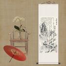 捲軸畫壁畫 王羲之蘭亭序條幅掛畫捲軸畫風水絲綢畫書法字畫客廳裝飾畫送老外 限時8折