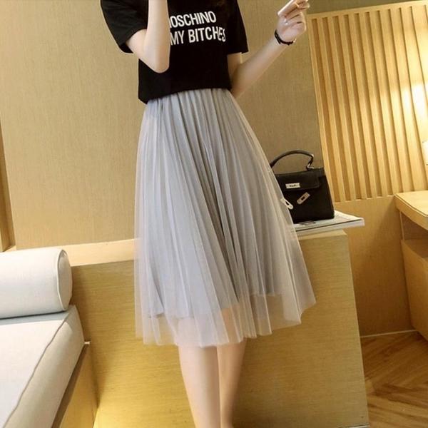 網紗半身裙女夏季中長款百褶紗裙2020年新款夏天小個子高腰垂感 【ifashion·全店免運】