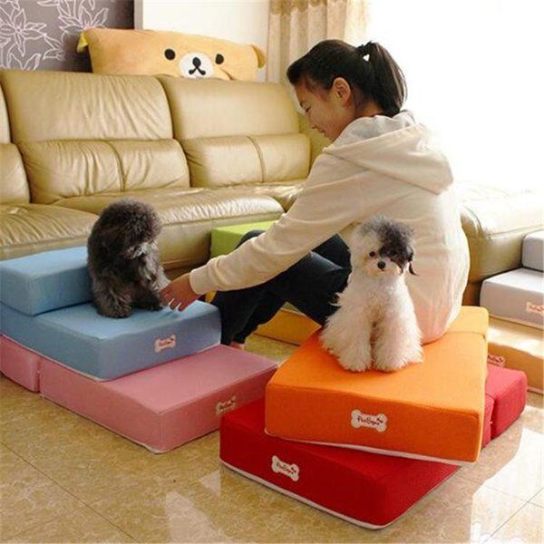 狗狗樓梯透氣網眼可折疊寵物狗訓練玩耍台階海綿墊爬床梯【全館免運85折】