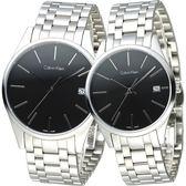 cK TIME 極簡風藍寶石水晶鏡面對錶-黑(K4N21141/【屈臣氏】