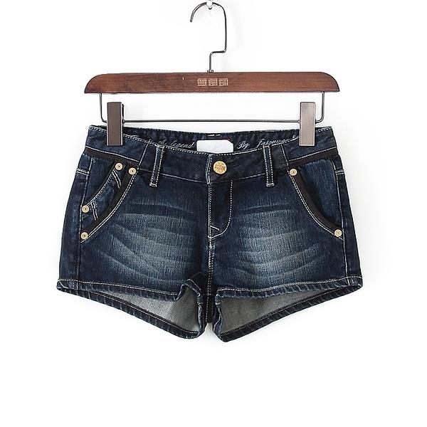 [超豐國際]堅夏裝女裝藍色牛仔純色休閑百搭短褲 43199(1入)