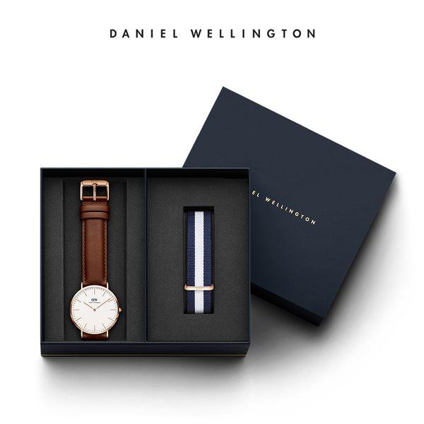 DW 禮盒 官方旗艦店 40mm棕色真皮錶+20mm藍白織紋錶帶 - Daniel Wellington