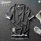 雙十二狂歡T恤男短袖原創假兩件短袖日系拼色【洛麗的雜貨鋪】