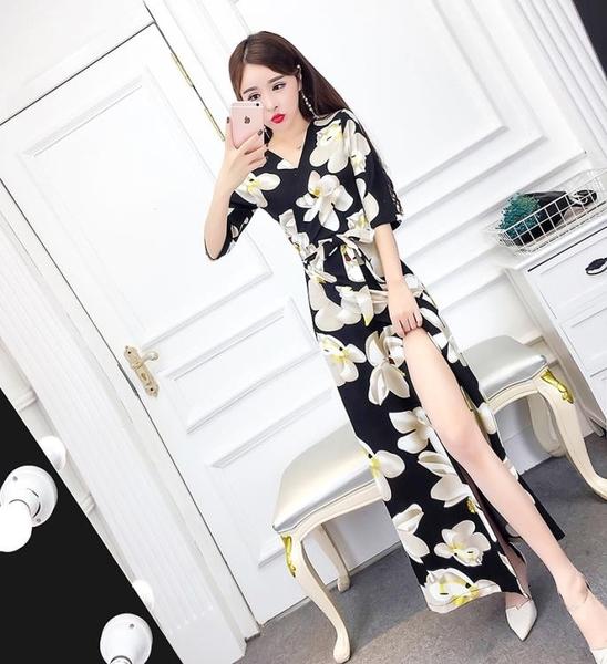 2018夏季新款韓版氣質V領修身收腰顯瘦開叉包臀洋裝及踝長裙女