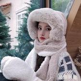 秋冬百搭可愛保暖雙層加厚冬天帽子圍巾手套三件一體帽雷鋒帽 XN9166『黑色妹妹』