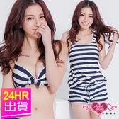 鋼圈比基尼促銷三天 任一件450元起 三件式泳裝 深藍 M~XL 鋼圈條紋泳衣 比基尼 Angel Honey