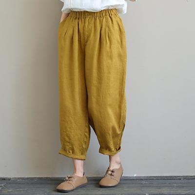 棉麻純色鬆緊腰哈倫褲 休閒寬鬆九分褲/5色-夢想家-0325