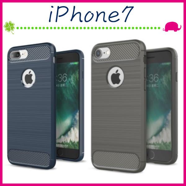 Apple iPhone7 4.7吋 Plus 5.5吋 拉絲紋背蓋 矽膠手機殼 防指紋保護套 全包邊手機套 類碳纖維紋保護殼