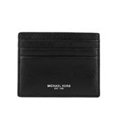 【MICHAEL KORS】WARREN皮革6卡名片/卡片夾(黑色) 36T7LWRD1L BLACK