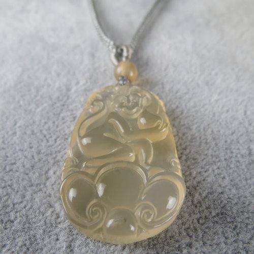 天然冰種黃玉髓靈猴項鍊#1752