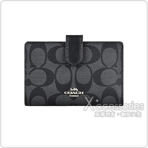 COACH金/銀字浮雕LOGO印花PVC 7卡扣式中夾(多色)