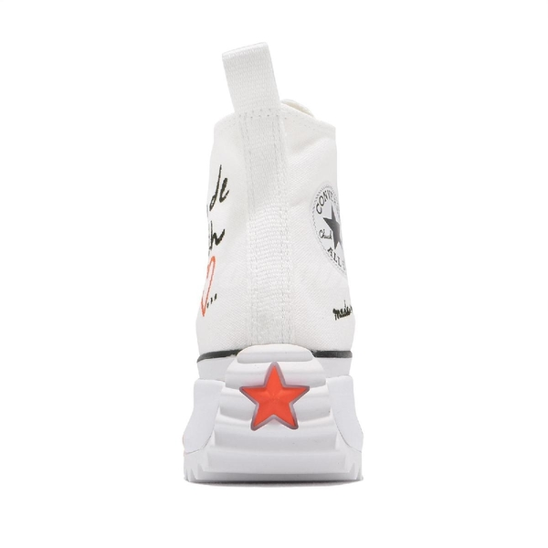 Converse 休閒鞋 Run Star Hike 白 紅 愛心 高筒 厚底 鋸齒鞋 女鞋 【ACS】 571874C