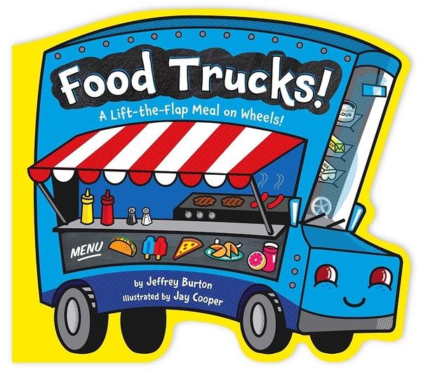 【麥克書店】FOOD TRUCKS A LIFT-THE-FLAP MEAL ON WHEELS/硬頁翻翻書《世界文化/食物》