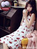 吊帶睡裙女士夏季純棉性感薄款睡衣帶胸墊洋裝子夏天孕婦家居服  (橙子精品)