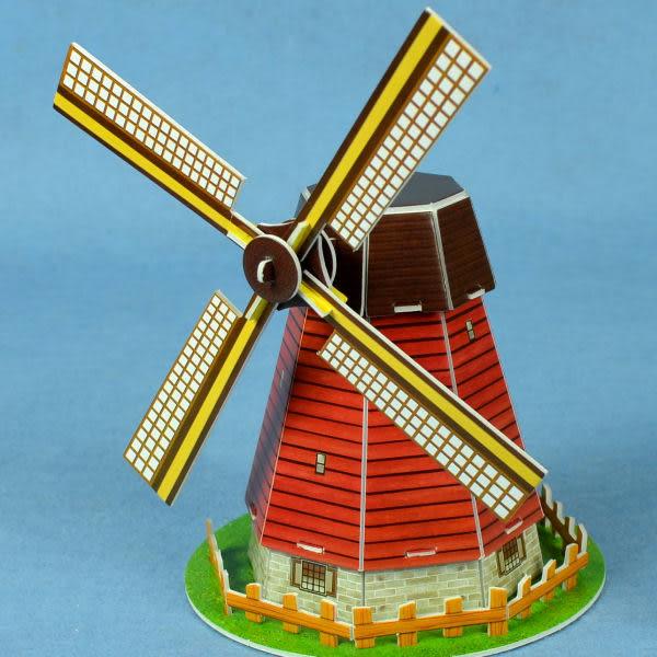 佳廷模型 親子DIY紙模型立體勞作3D立體拼圖專賣店 今生必遊景點 荷蘭風車迷你 樂立方S3005