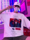 短袖T恤超火的嘻哈短袖T恤原宿寬鬆男士五分袖情侶裝 【免運】