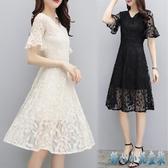 裙子夏女2020新款中長款冷淡風連身裙極簡顯瘦氣質鏤空蕾絲洋裝溫柔裙 KP4【甜心小妮童裝】