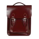 【The Leather Satchel Co.】英國原裝手工牛皮經典後揹包 手提包 後背包 新款磁釦設計(誘惑紅-漆皮)