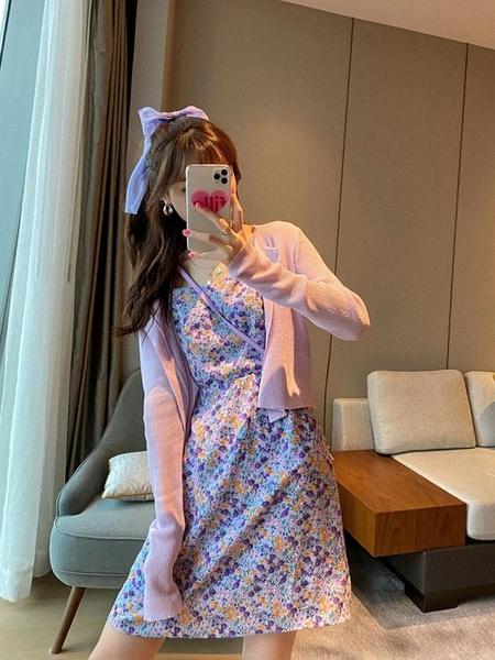 碎花裙 女夏裝2020年新款桔梗初戀超仙森系氣質紫色吊帶碎花雪紡洋裝子
