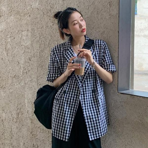 2021新款時尚格子短袖西裝外套女夏季薄款休閑炸街網紅小西服上衣