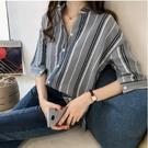 DE shop - 條紋設計感短袖襯衫 ...
