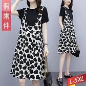 假兩件愛心印花吊帶洋裝 L~5XL【395016W】【現+預】-流行前線-