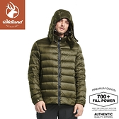 【Wildland 荒野 男 700FP 可回溯羽絨外套《墨綠》】0A82102/輕羽絨外套/保暖外套/連帽外套