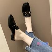 半拖鞋 包頭拖鞋女秋季新品正韓百搭半拖鞋女粗跟懶人外穿穆勒鞋【快速出貨】