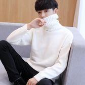 2019秋冬新款韓版高領針織長袖T恤男士上衣服修身打底衫潮流毛衣