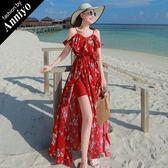Anniyo安妞‧波希米亞細肩帶兩穿開叉修身顯瘦雪紡印花海邊度假沙灘裙長裙長洋裝 紅底碎花
