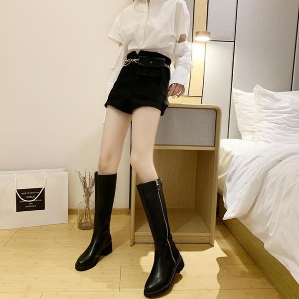 靴子女長靴高筒靴騎士靴粗跟及膝軍靴不過膝單靴馬靴女2021秋新款 8號店