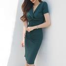 歐媛韓版 韓版性感 V領短袖洋裝 氣質修...